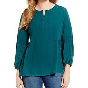 Westbound Plus Size 1X Jade Green Long Sleeve Top